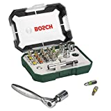 Bosch Set de 26 unidades para atornillar y llave de carraca (accesorios para taladro...