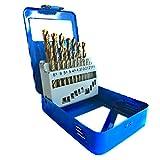 S&R Brocas HSS para Metal Profesionales. Juego de 19 brocas de 1,0 a 10 mm, DIN 338,...