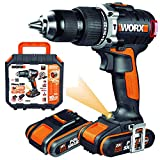WORX WX373 Taladro percutor con 2 baterías de 2.0 Ah y cargador, sin escobillas,...
