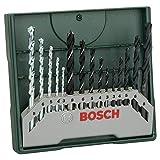 Bosch Set mixto Mini-X-Line con 15 unidades para taladrar (para madera, piedra y...